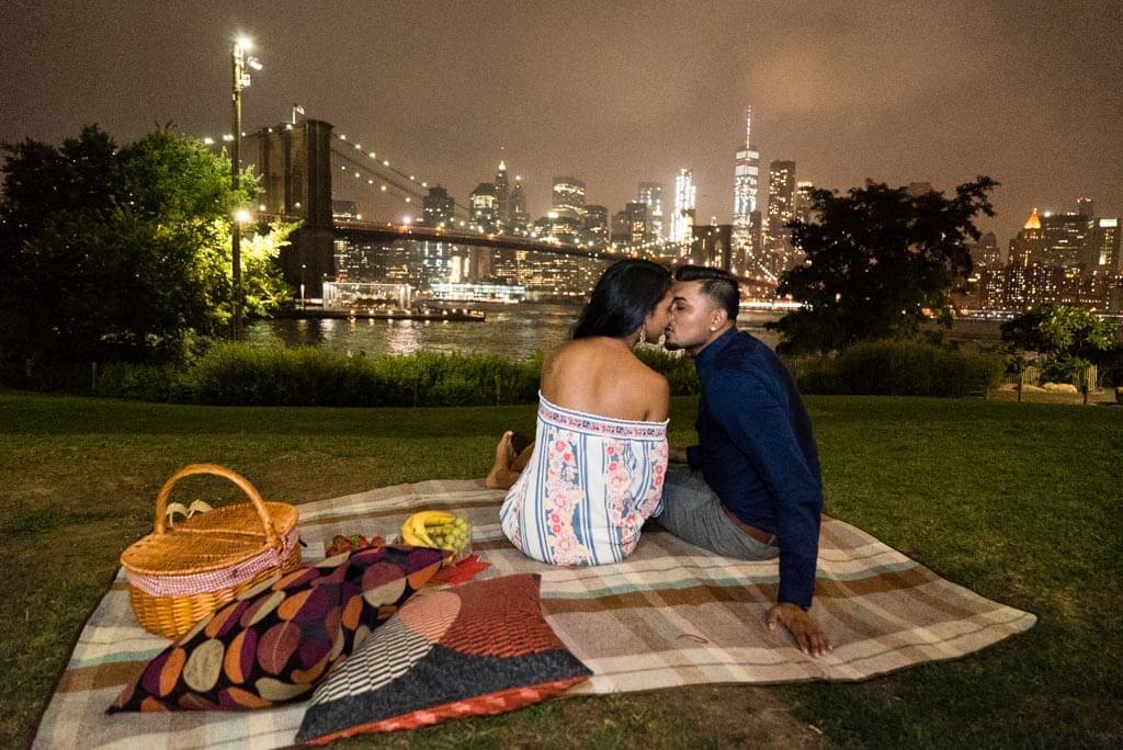 picnic proposal in Brooklyn bridge Park